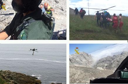Evacuados un pre-ahogamiento de la playa de Usgo y una pareja de senderistas en Picos de Europa