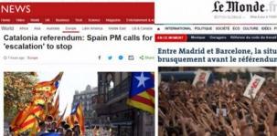 """La prensa internacional lleva a sus """"primeras"""" en conflicto en España con Cataluña"""