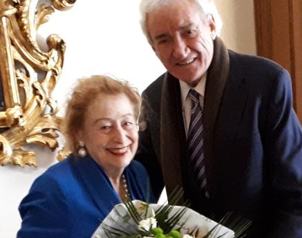 Luis del Olmo y Elettra Marconi hermanados en un homenaje al inventor de la radio