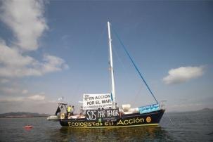 El velero 'Diosa Maat' llega a San Vicente para apoyar a la contra del 'Superpuerto deportivo'
