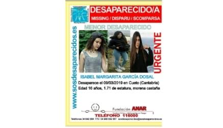 Se busca a esta menor desaparecida en Cueto