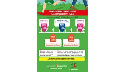 Torrelavega edita un cartel con las franjas horarias para hacer deporte y pasear